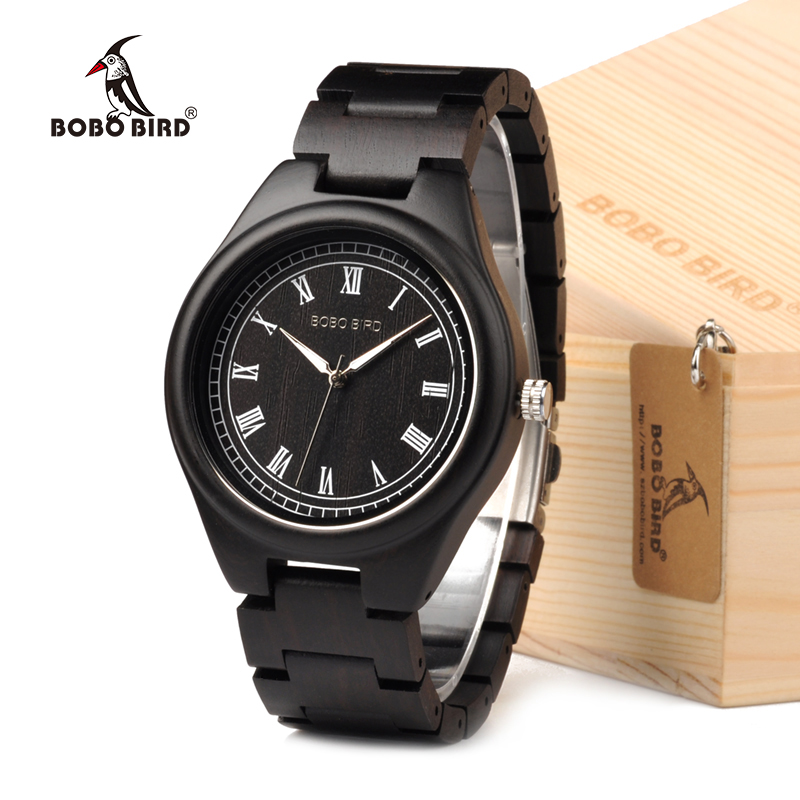 BOBO BIRD Mens Wood Watch Roman Numerals Plate Wristwatch with Wooden Links in Gift Box<br>
