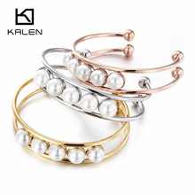 Kalen New Fashion Stainless Steel&Pearl Bracelet For Women Rose Gold Color Silver Tri-color Bangle Girls Hair Tie Bracelet Gift