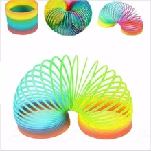 5.5*6.5 cm Hot Sale Large Magic Toy Colorful Funny Classic Toy For Children Gift Plastic Slinky Rainbow Spring Kids Toy(China)