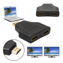 Portable 1080P HDMI Male to 2 Female 1 In 2 Out Splitter Adapter Protector Hi Speed 1x2 HDMI Splitter Converter