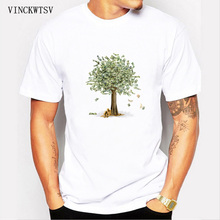 Dollars Money Tree T Shirt Men Unique Custom Short Sleeve Funny Design Boyfriend's Gift XXXL Party Tee Shirt(China)
