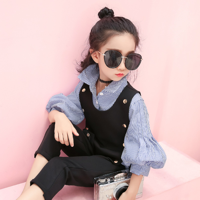 SexeMara Girl autumn new suit 2017 new children Korean fashion vest jacket with pants two sets of tide<br>