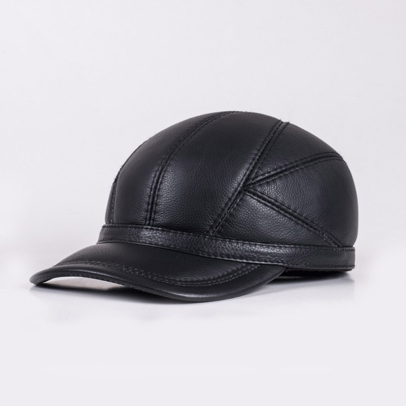 e0e6cd88ba215 HL030 Winter Genuine Sheepskin Leather Hat Brand New Mens Warm ...