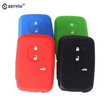KEYYOU Silicone Car Key Cover Shell Case Fit For Toyota Corolla Vios RAV4 Land Cruiser Highlander 3 Buttons(China)