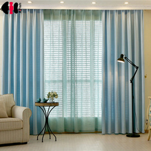 Blackout Curtains for the Bedroom Faux Linen Modern blue Curtains for general hospital star Blinds WP198B(China)
