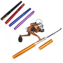 6 Colors Portable Pesca Mini Aluminum Baitcasting Pocket Pen Fishing Rod Pole + Reel Wholesale(China)