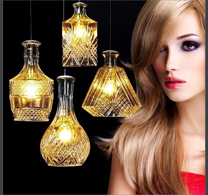 Modern Minimalist Vintage Wine Bottle Pendant Lights CafeRoom/Bar Lamp Single Glass Pendant Lamps Decoration Indoor Lighting E27<br>