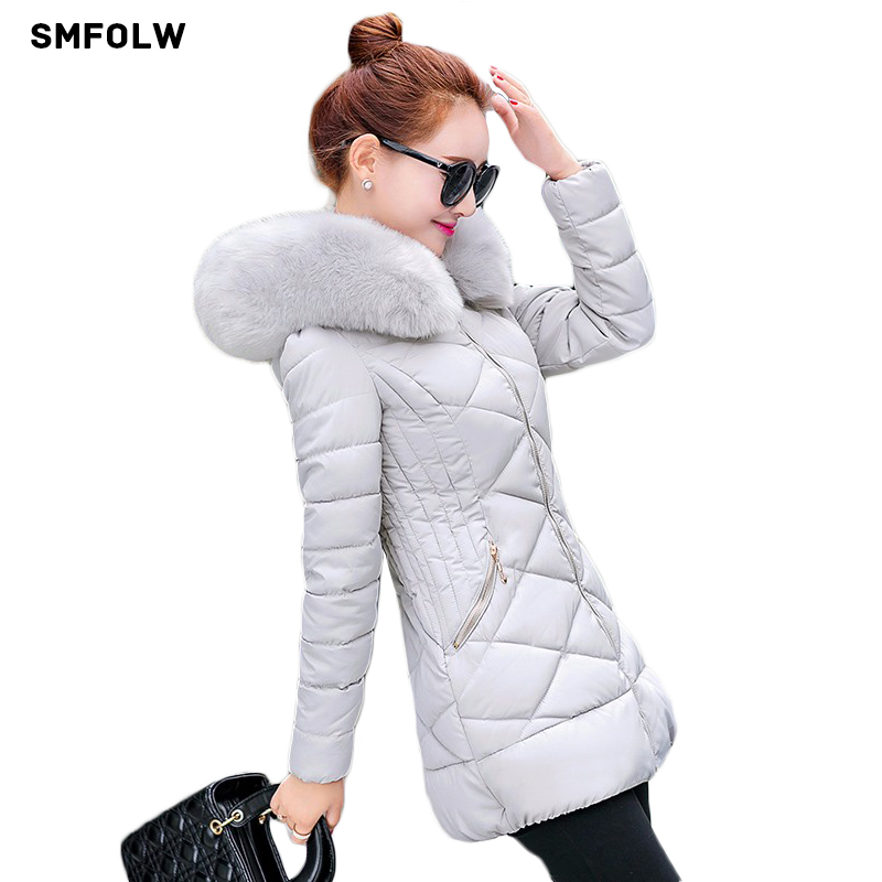 SMFOLW Winter Jackets 2017 New Womens Thick Warm With A Hat Faux Collar Hooded Silm Anorak Zipper Pocket Cotton CoatsÎäåæäà è àêñåññóàðû<br><br>