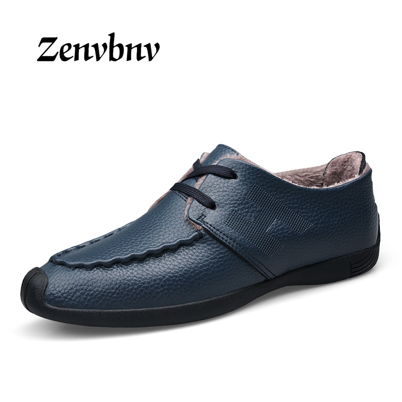 ZENVBNV Hot Sale 2017 Men Shoes Big Size 38-44 Genuine Leather Men Shoes Warm Fur Blue Business Winter Comfortable Mens Shoes<br>