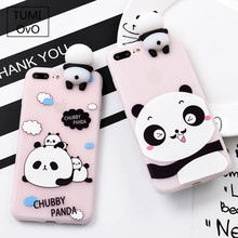3D Cute Stand China Panda Case For iPhone 5 5s SE X For iPhone 6 6s 7 Plus Back Phone Cover Cartoon Scrub For iPhone 8 Plus(China)