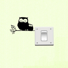 Black Vinyl Switch Sticker Cute Owl Mom And Owl Baby Wall Stickers For Kids Rooms Switch Sticker 3SS0143