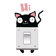 Funny Cat Say Hi Switch Stickers Outlets Decor Diy Cartoon Animals Kitten Wall Vinyl Home Decals Living Room Mural Art
