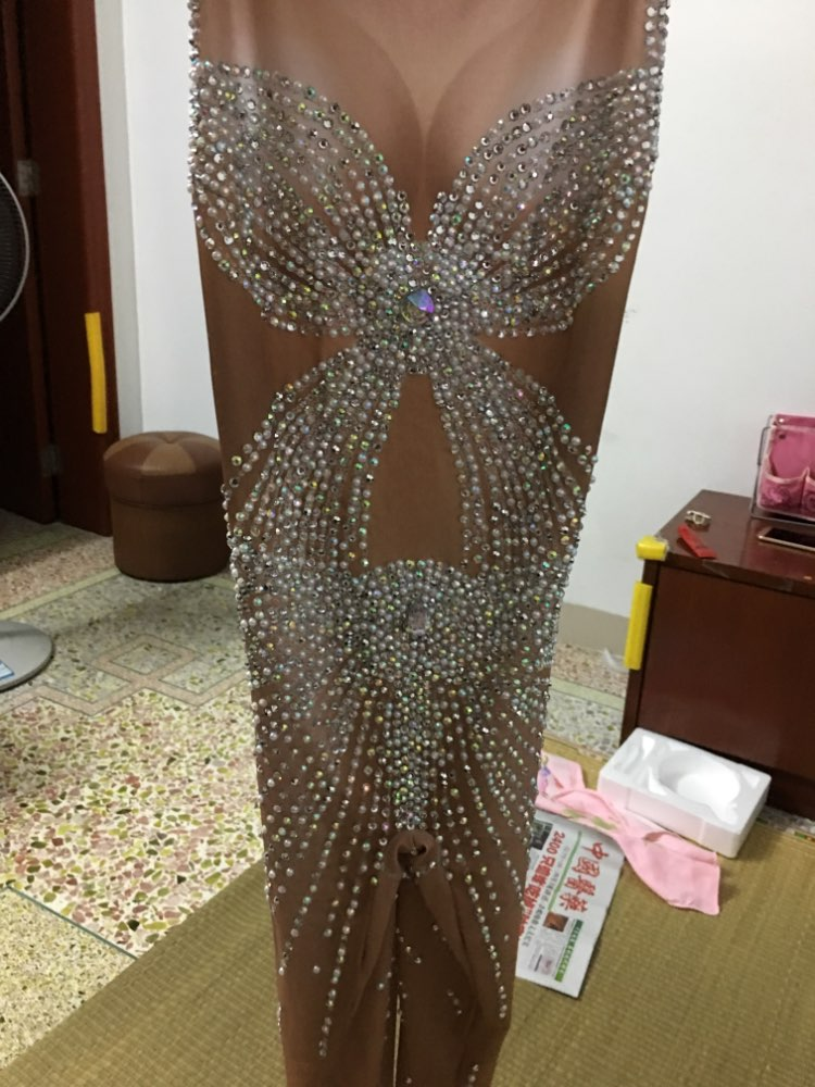 Bright Crystals Jumpsuit Women Sexy Outfit Party Prom Costumes Stage Wear Body Suits Dance Nightclub Singer Rhinestone Rompers 3