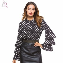 Black Polka Dot Layered Sleeve Blouse Long Sleeve 2017 New Round Neck Women Casual Loose Autumn High Street Wear Blouse(China)