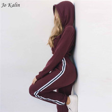 2018 New Autumn Women 2 piece clothing set casual fashion crop top and long pants ladies sexy tracksuit hoodie suit(China)