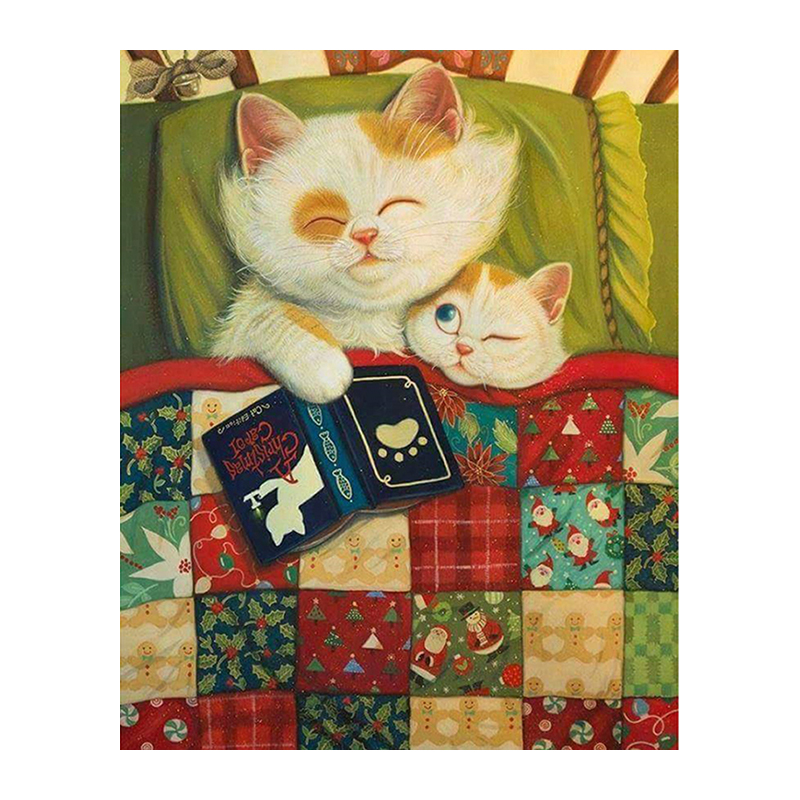 Diamond 5D DIY Diamond Painting Big cat and kitten Embroidery Cross Stitch Rhinestone Mosaic Painting Decor