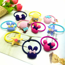 1PCSKids Cute Mickey Rabbit Flower Bow Headband Elastic Rubber Hair Band Holders Accessories For Girl headwear Scrunchy Tie Gum