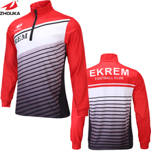 Quick-drying Long-sleeved 1/4 Zipper Men Soccer jersey custom sublimation men t shirt