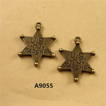 25*32MM DIY retro small five pointed star charm u.s. marshal jewelry wholesale ZAKKA romantic Pendant handmade beads accessories