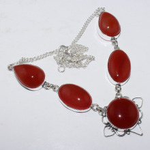 Carnelian  Necklace  Silver Overlay over Copper , 49.3 cm, N0974