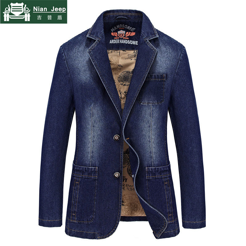 2018 Brand Blazer Jacket Men Denim Jacket Coat Winter Windbreaker Slim Fit Solid Mens Jackets Plus Size M-4XL Jaqueta Masculina
