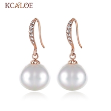 KCALOE Oval Pearl Earrings Real Natural Sea Shell Pearls Crystal Rhinestone Wedding Rose Gold Color Wedding Drop Earrings(China)