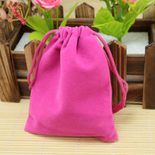 Wholesale 9x12cm Drawstring Hot Pink Velvet Bags Pouches Jewelry Christmas Valentines Gift Bags 200pcs/lot Free Shipping