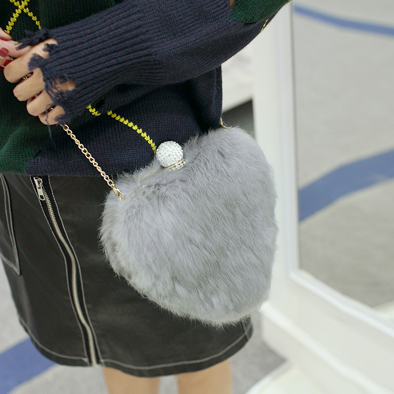 Ellacey Women Heart-shaped Faux Fur Bag Crossboday Evening Bags Chain Small Messenger Bags Lady Shoulder Packet Ladies Party Bag<br>
