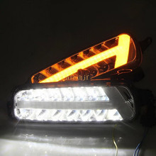 July King LED Daytime Running Lights DRL Case For Ford Focus IV 2015~ON, Front Bumper Fog Lamp With Yellow Turn Signal Lights