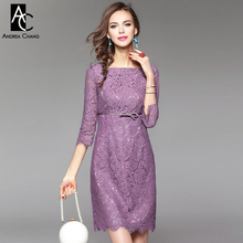 Buy spring summer runway designer womans dresses pink lavender high lace dress empire waist fashion vintage mini lace dress for $50.63 in AliExpress store