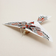 10PCS/Set Flying Kite Paper Airplane Assembly Flapping Wing Flight  Imitate Birds Aircraft Toys For Children school teaching