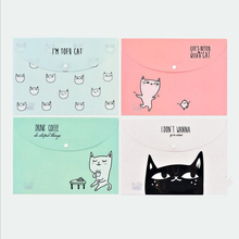 """Lazy Cats"" File Folder Pack of 4 Cute Plastic Document Study Working File Bag Organizer School Big Pocket Bag"
