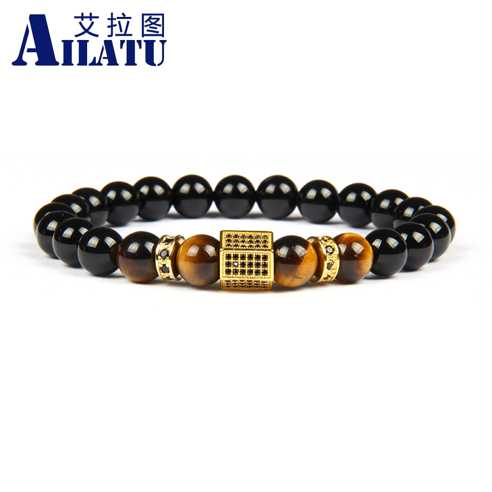 Ailatu Men Luxury Bracelet Micro Pave Black Cz Hexagon Beaded Bracelets with 8mm Natural Black Onyx & Tiger Eye Stone Beads