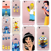Homer Simpson Case for iphone 6 6s 5 5s SE 7 plus Soft TPU Silicone Transparent Fundas Cheap Cover Minions Stitch Cartoon Coque