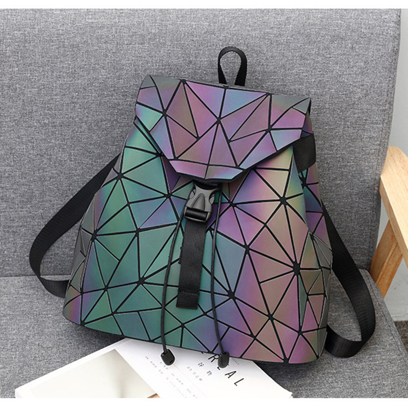 Nevenka Luminous Backpack Women Leather Geometric Backpacks Diamond Lattice Backpack Travel Girls Casual Daypacks Fashion 201801