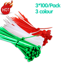 3*100mm Self-Locking Nylon Cable Ties 300Pcs/Pack Colorful Cable Zip Tie Loop Ties For Wires