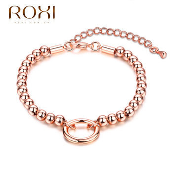 ROXI Brand Brcalet For Women Vacation Gift Round Pendant Bead Bracelet Rose Gold Color Fashion Jewelry Chain Charm Body Bijoux