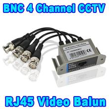 New 4 Channel CCTV Passive Video Balun RJ45 CAT5 to BNC Transceiver Cable , 600 Meters Working Distance, 4 CH 4CH to Network