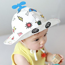 2017 Helicopter Baby Summer Hat with Eyes Lovely Lace-up Infant Sun Cap Outdoor Children Bucket Hat Blue for 1-2 Years
