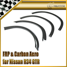 EPR Car Styling For Nissan R34 GTR FRP Fiber Glass Superior AC Style Fender Flares 4pcs Fiberglass Mudguard Accessories