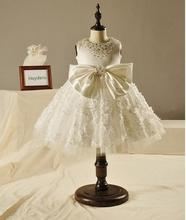 Elegant Girl Wedding Dress Big Bow Fashion Girls Great Quality White Diamond Beading Tulle Party Princess Dresses,3-12Y