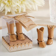 200pcs=100Boxes/LOT Just Hitched Ceramic Cowboy Boot Salt and Pepper Shaker for Wedding Souvenirs Party Favors Free shipping