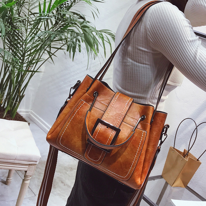 Fashion Women Handbag Large Capacity Tote Bag High Quality PU Leather Vintage Shoulder Bag Female Causal Bucket Messenger Bag<br>