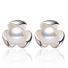2016 New   plated silver pearl earrings lucky clover