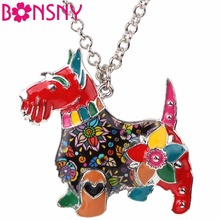 Buy Bonsny Maxi Statement Metal Alloy Enamel Scottish Dog Choker Necklace Chain Collar Pendant Fashion 2017 News Jewelry Women for $4.59 in AliExpress store