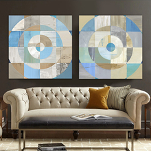 Round table color block modern abstract oil painting 2 piece canvas art  hand painted canvas art works   Cheap hand painted