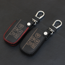 High quality genuine leather key cover for Jaguar Land Rover range rover freelander Evoque discovery remote case wallet