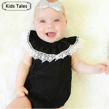 Lace Girl Newborn Children Lace Sleeves Lace Sliders Lotus Collar Overalls Cotton Women's Beach Suit Outfits SR178