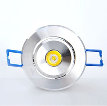 1W LED Recessed Downlight Cabinet Lamp silver shell 85-265v down light+driver 10pcs/lot Free Shipping of HongKong Post Air Mail(China)