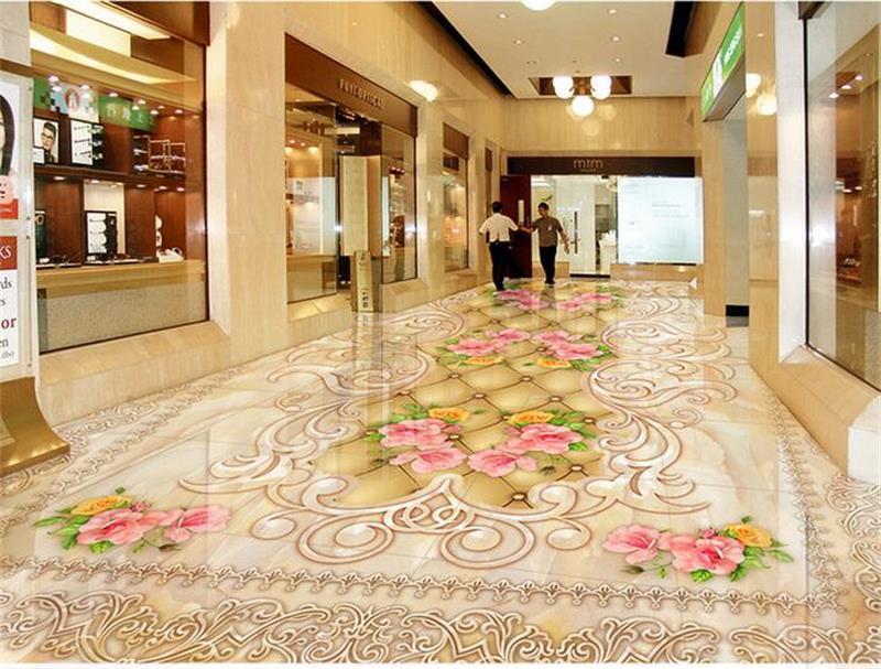 3D PVC Flooring Murals Custom HD Photo Wallpaper Flowers China Floor Wallpaper Bathroom Self-adhesive PVC Waterproof Wallpaper<br>